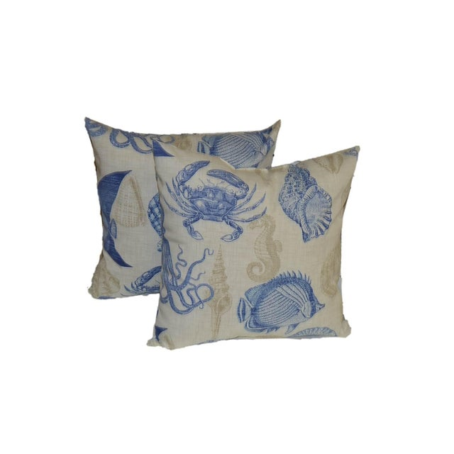 Blue & Tan Nautical Pillows- a Pair - Image 1 of 3