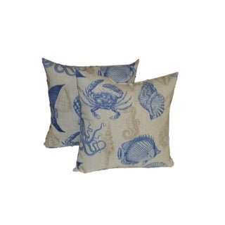 Blue & Tan Nautical Pillows- a Pair