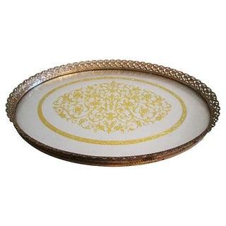 Midcentury Filigree Gold & Silver Foil Vanity Tray