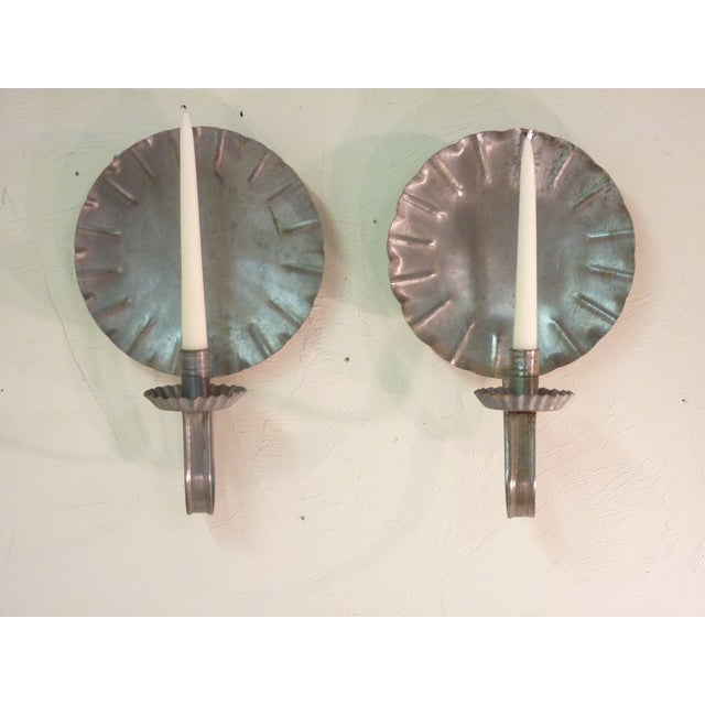 Vintage New England Tin Sconces - Pair - Image 2 of 4