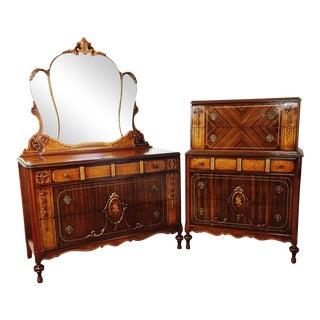Art Nouveau Gilt Walnut Floral Dresser Set - A Pair