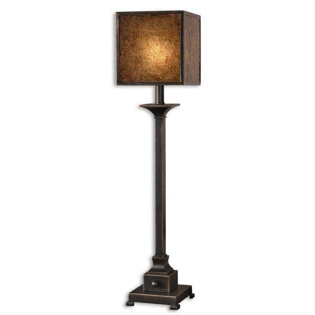 Square Crackle Glass Buffet Lamp - Image 2 of 6