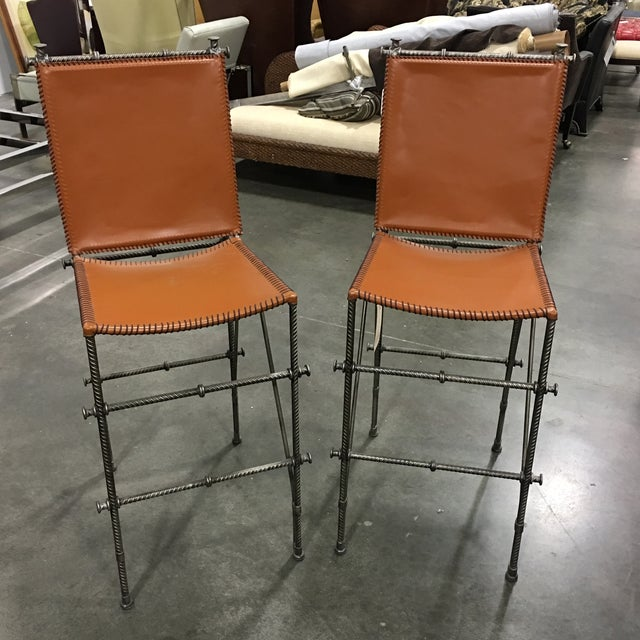 Leather & Rebar Bar Stools - a Pair - Image 2 of 6