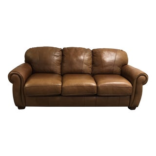 Lane Camel Colored Leather Couch