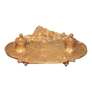 Antique French Art Nouveau Gilt Bronze Inkwell