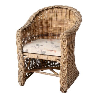 Vintage Rattan Barrel Chair