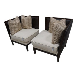 Modern Upholstered Corner Chairs- A Pair