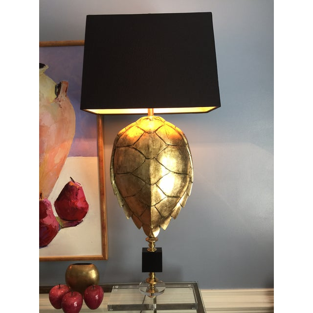 Image of Magnificent Hand Crafted Faux Tortoise Lamps - 2