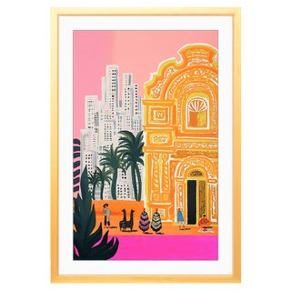 Bright South America Print With Matte & Gold Frame