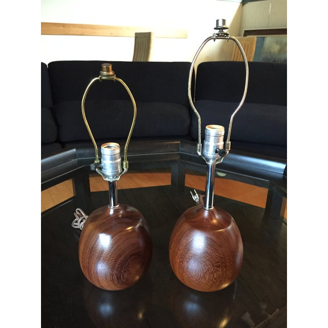 Complimentary Danish Teak Table Lamps - A Pair - Image 2 of 5