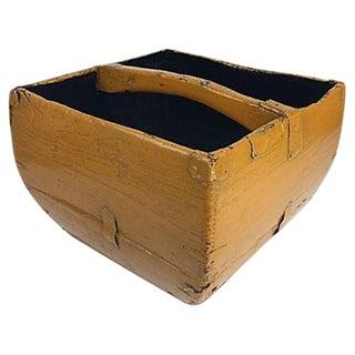 Antique Mustard Yellow Asian Rice Basket