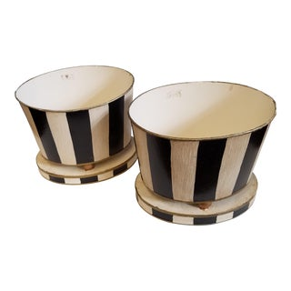 Vintage Black & White Oval Cachepots - A Pair