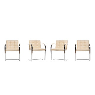 Leather Brno Flat Bar Style Tufted Button Chairs - Set of 4