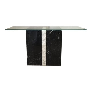 Sirmos Style Black & White Marble Console Table
