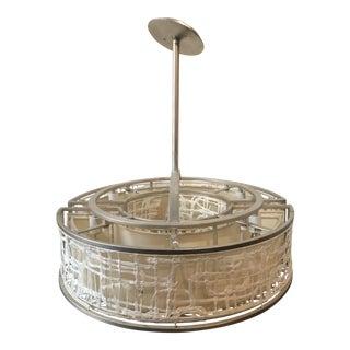Silver Leaf Hanging Drum Pendant Light