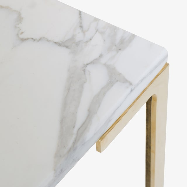 Astor Brass Occasional Tables in Carrara Marble by Montage, Pair - Image 4 of 4