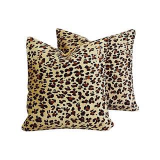 Custom Leopard Spot Cowhide & Velvet Feather/Down Pillows - Pair