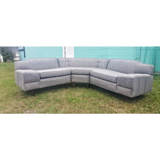 Mid-Century Modern Gray Sectional Sofa - Image 6 of 8