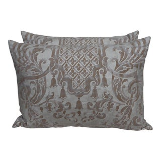 Fortuny Pillows with Linen Backs - A Pair