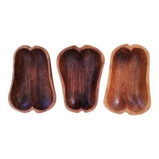 Vintage Hand Carved Pear Wood Bowls - Set of 3