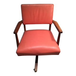 Antique Coral Leather Office Chair