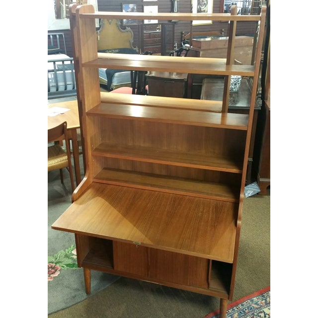 Image of Kofod Larsen Danish Modern Teak Bookcase Desk