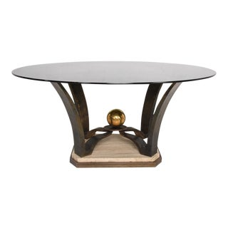 Mexican Modernist Oval Dinning Table Base Bronze and Travertine