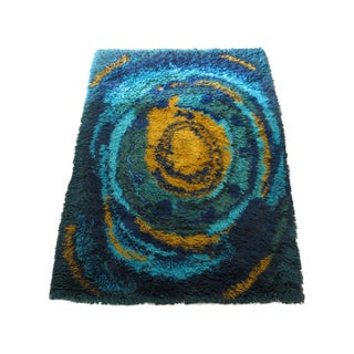 "Danish Rya Rug in Blue and Gold - 4'6"" x 6'6"""