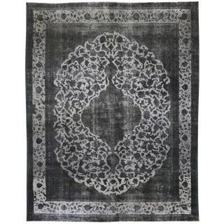 "Vintage Hand Knotted Gray Medallion Wool Area Rug - 9' 5"" X 11' 10"""