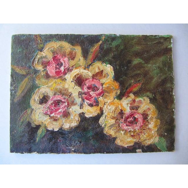 Image of Vivid Vintage Flower Paintings- A Pair