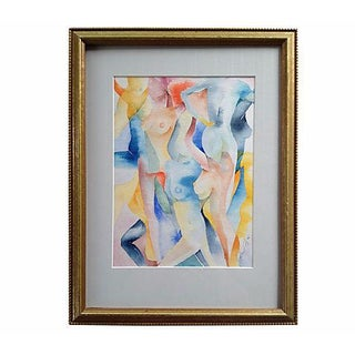 Midcentury Watercolor Nudes by Peretz