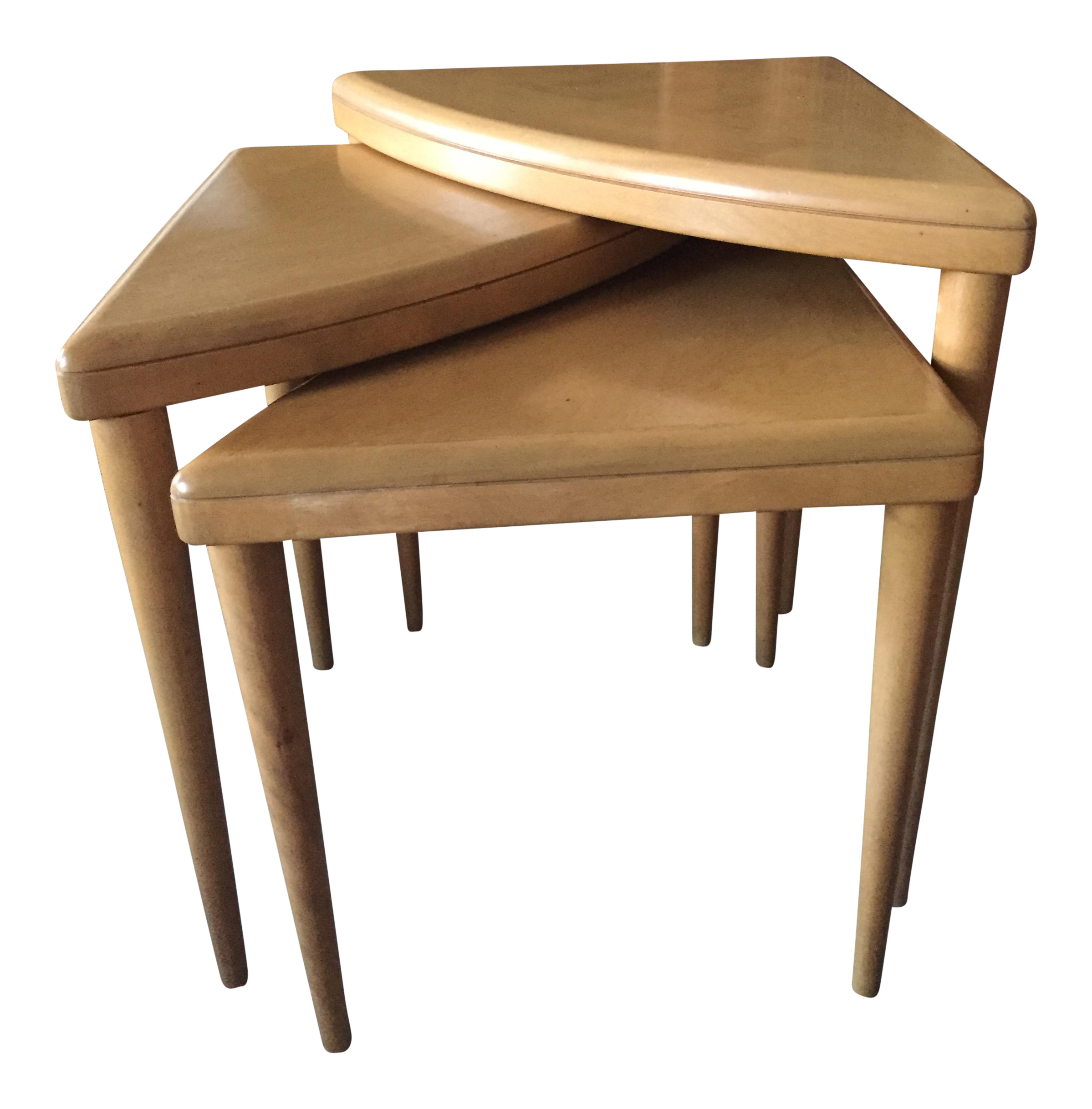 Heywood Wakefield Triangle Nesting Tables   Set Of 3   Image 1 Of 5