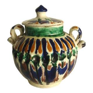 Rustic Folk Pottery Sugar Jar