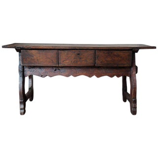 18th Spanish Refectory Table with Three Drawers
