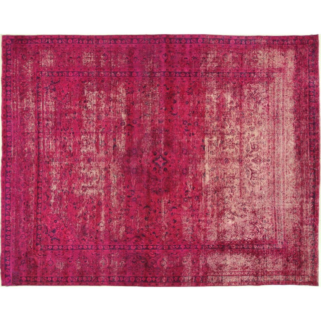 """Pink Overdyed Floral Area Rug - 9'7"""" x 12'2"""" - Image 1 of 10"""