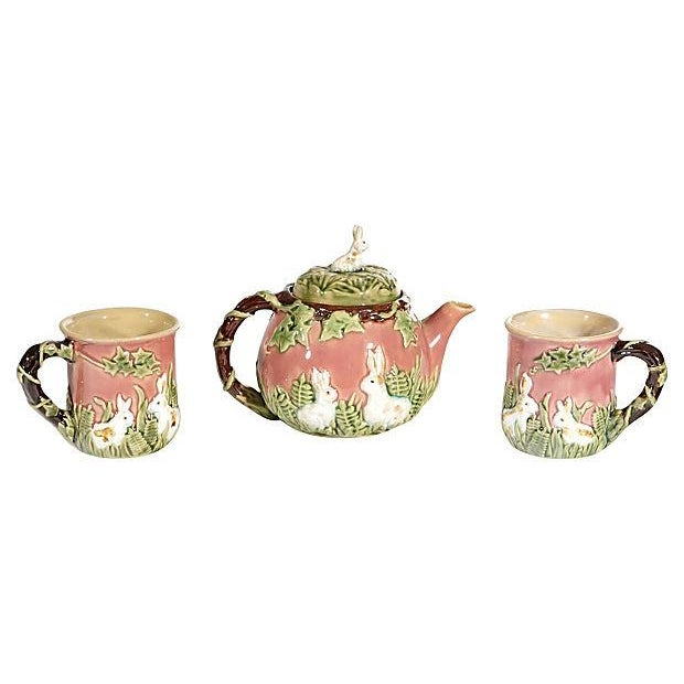 Majolica-Style Rabbit Motif Tea Set - Image 1 of 5