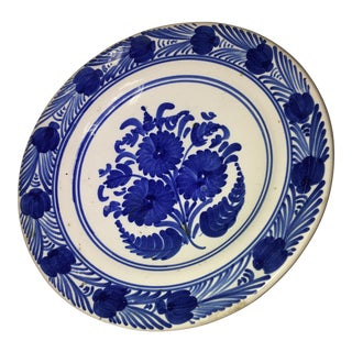 Blue & White Floral Glazed Ceramic Wall Plate