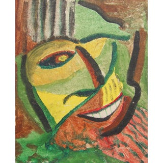 Vintage Abstract Green Man Oil Painting on Board