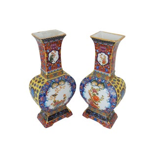 Famille Lucky Rose Style Vases - A Pair