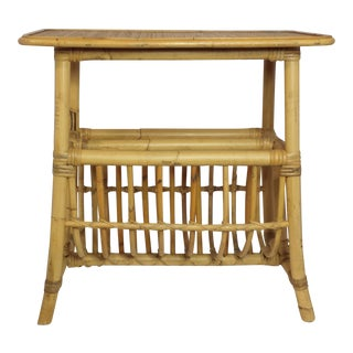 Vintage Mid Century Bamboo Rattan Magazine Rack Side Table