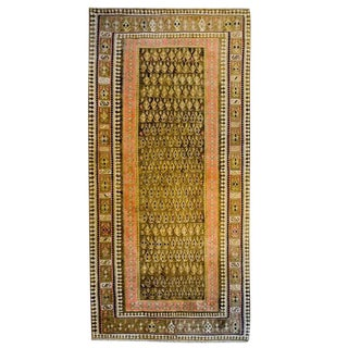 20th Century Persian Senneh Kilim Brown Paisley Runner - 4′10″ × 8′9″