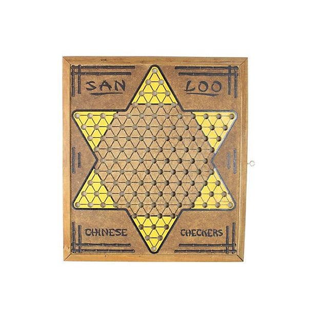 Vintage 1950s Chinese Checkers Game Board - Image 1 of 4