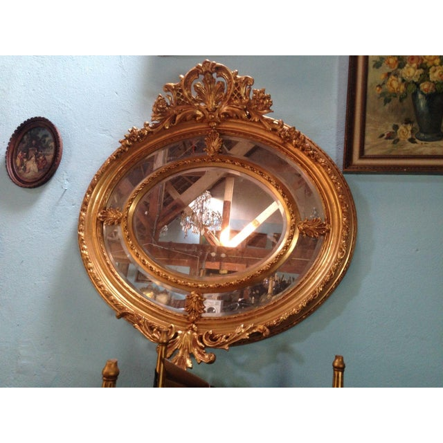 Antique French Louis XVI Gilded Wood Oval Mirror - Image 5 of 6
