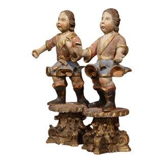 Italian Carved Polychrome Figures - A Pair