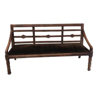 Vintage Van Thiel Wood Carved Upholstered Bench