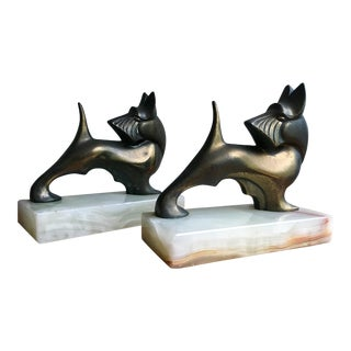 Brass & Marble Terrier Dog Bookends- A Pair
