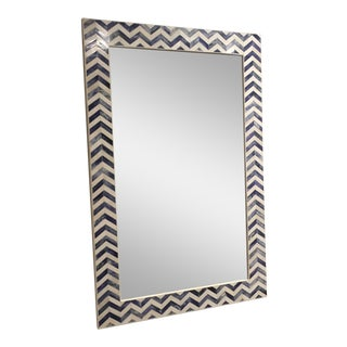 Chevron Indigo Bone Inlay Mirror
