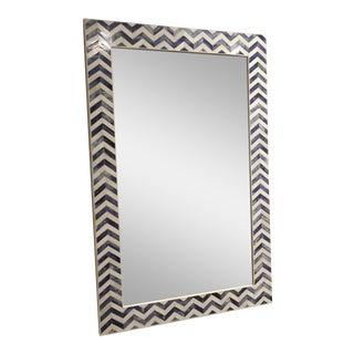 Chevron Indigo Bone Inlay Mirror