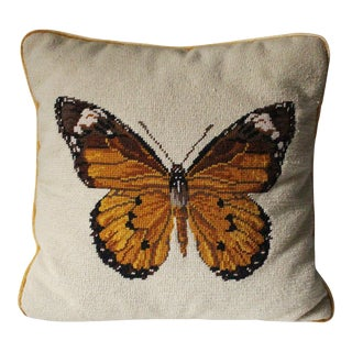 Vintage Needlepoint Monarch Butterfly Pillow