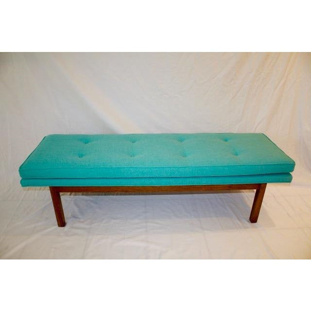 Mid-Century Tufted Turquoise Bench - Image 2 of 8